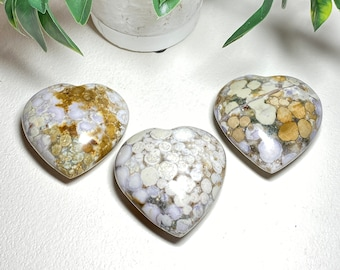 Spotted Agate Crystal Puffy Hearts - healing, concentration