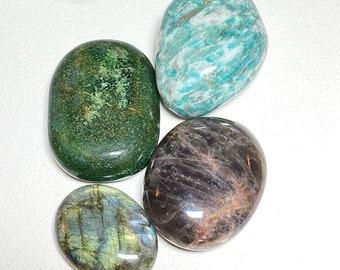 Meditation Crystal Set - Amazonite, Green Aventurine, Black Moonstone, Labradorite