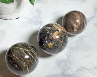 Black Moonstone Crystal Spheres