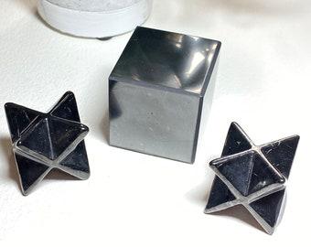 Shungite Crystal Cube & Stars - Electronic Frequency (EMF) Blocker, Balance, Consciousness