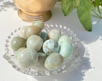Green Moonstone Crystal Large Tumbled Stones - Healing, Stability