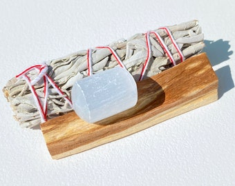 Crystal Cleansing Kit - White Sage, Palo Santo, Selenite Charger