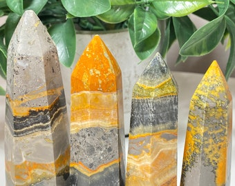 Bumble Bee Jasper Crystal Points - positivity, life's purpose