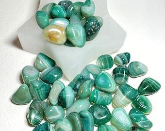 Crystal Tumble Stones - Green Agate