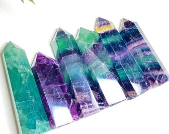Rainbow Fluorite Crystal Polished Points - Clarity, Focus, Order