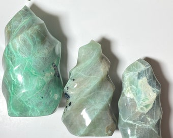 Green Moonstone Crystal Flames - Healing, Stability