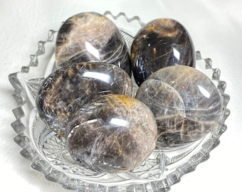 Black Moonstone Crystal Palm Stones - New Beginnings, Protection, and Grounding