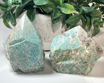 Amazonite Crystal Large Top Polished Points - Truth, Harmony, Peace