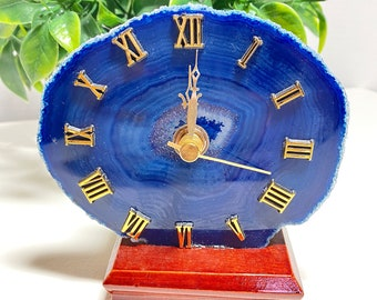 Agate Crystal Clock Wooden Base - Grounding, Nourishment, Stability