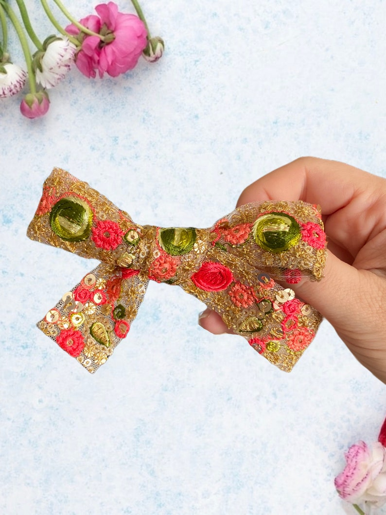 Embroidered Baby Gifts Floral Hair Clip Embroidered Bows Floral Embroidered Bow Flower Hair Clip Embroidered Hair Clip