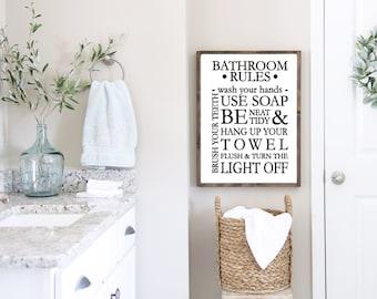 Bathroom Sign Bathroom Rules  Farmhouse Sign Great addition to any Bathroom, bathroom wall decor