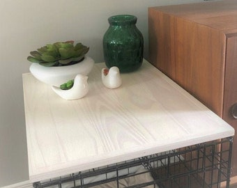 Kennel Wood Table Top, Farmhouse Dog Kennel Top,  Dog Crate Topper Dog,  Crate Table Crate Cover