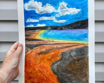 Yellowstone Grand Prismatic Spring Watercolor Painting; ORIGINAL WATERCOLOR PAINTING, Wonder of the World Painting, Watercolor Art