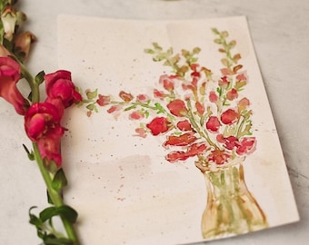 Original Watercolor Snapdragon Painting; Hand Painted; Ready To Ship; Flower Painting; Original Artwork
