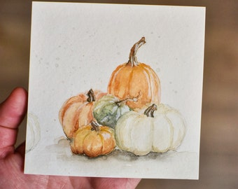 Original Watercolor Pumpkins Painting; Hand Painted; Ready To Ship; Autumn Painting; Original Artwork; Pumpkin art