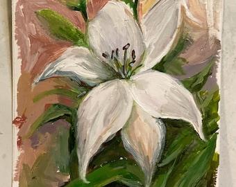 Original Lily acrylic mini Painting; Hand Painted; Ready To Ship; Flower Painting; Original Artwork