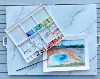 Yellowstone Spring Watercolor Painting; ORIGINAL WATERCOLOR PAINTING, Wonder of the World Painting, Watercolor Art