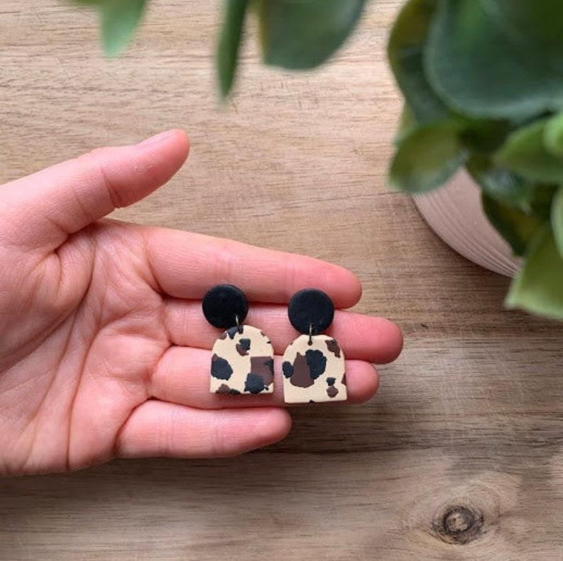 Priscilla Handmade Earring Sensitive Ears Stud Clay Earring Cheetah Polymer Clay Earring Statement Earring