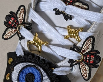 Roller Skate Shoe Patch Laces accessories Queen Bee Busy Bee Flower Charm