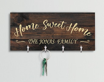 Personalized Key Holder for Wall - Custom Key Hanger with Family Name   6 Designs, 2 Background Options   House Warming Presents New Home