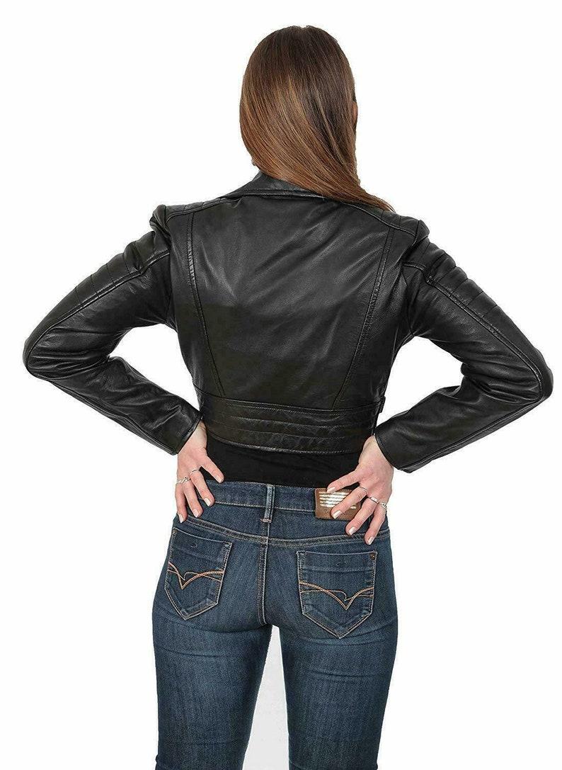 Biker Jacket Cropped Leather Jacket Leather Jacket for Women