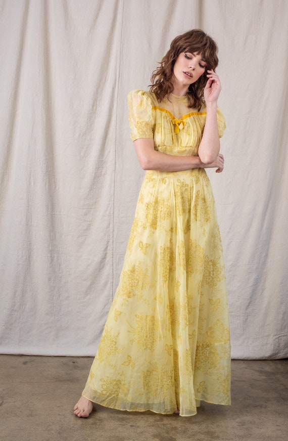 1940's Yellow Floral Organza Dress