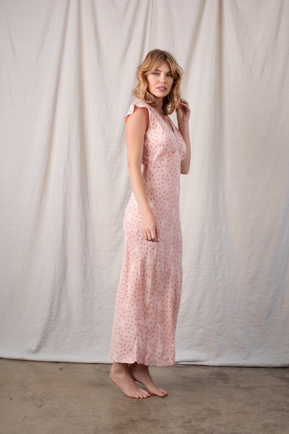 1970s Pink Floral Butterfly Rayon Slip - image 2