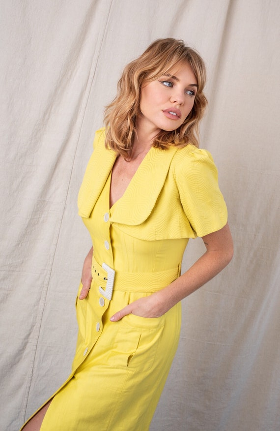 1980s Chartreuse Yellow Capelet Dress