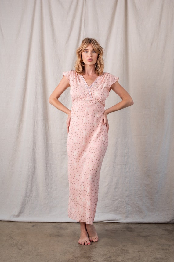 1970s Pink Floral Butterfly Rayon Slip - image 1