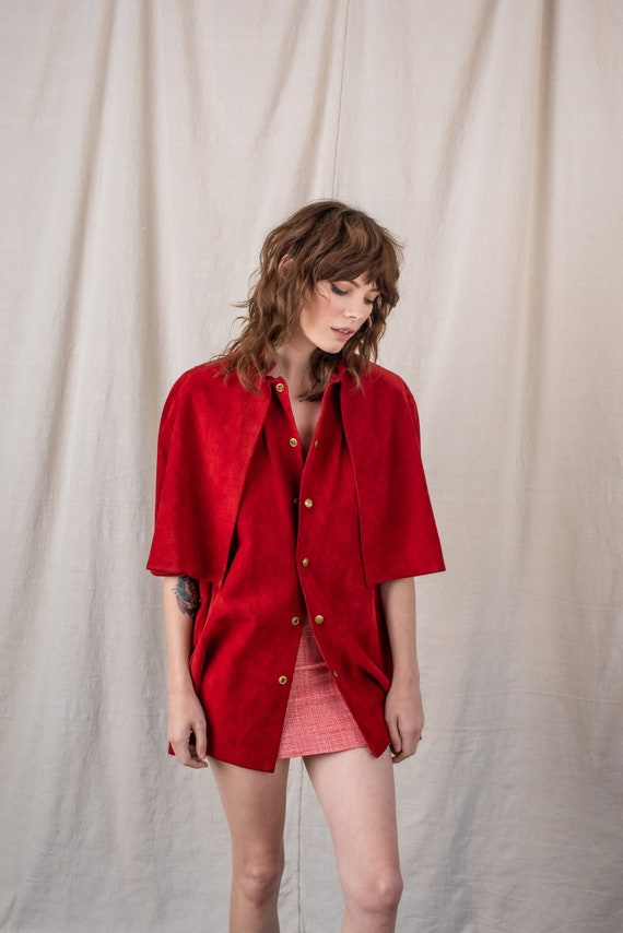1970s Red Suede Cape