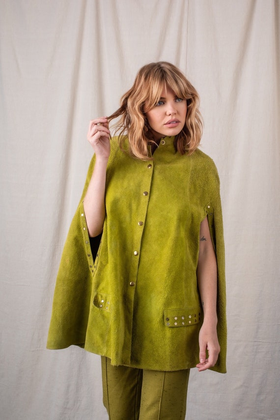 1960s Chartreuse Suede Cape