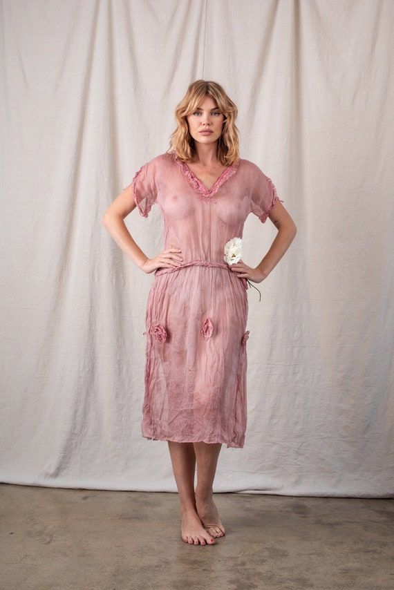 1920s Pink Sheer Organza Dress