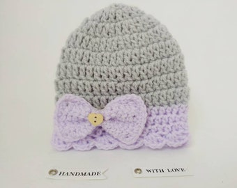 Lilac lace baby hat