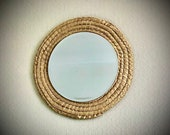 Up-Cycled Rattan Large Retro Round Wall Mirror