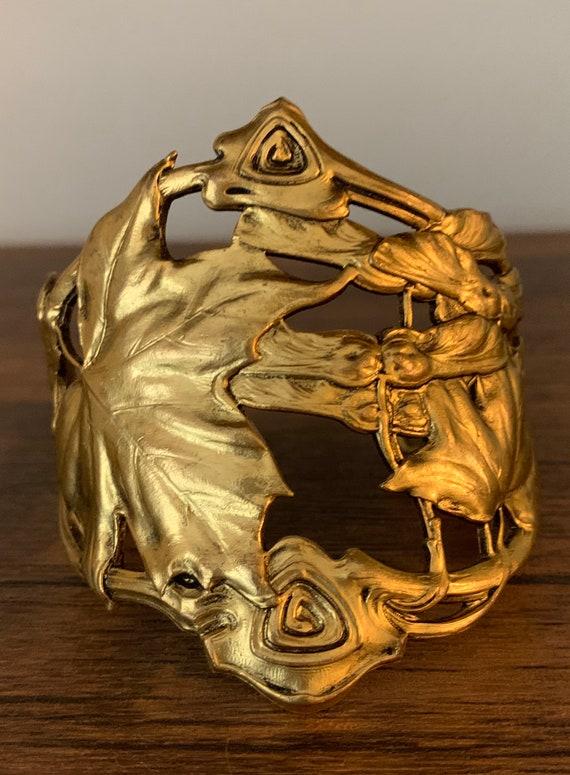 Artisan Vintage Art Nouveau Brass Cuff
