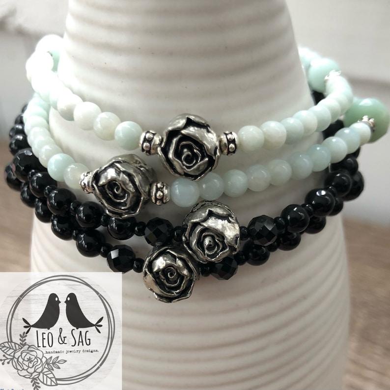 Pewter Rose Garden Gemstone Elastic Stacking Bracelets