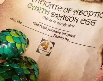Dragon Adoption Certificates (Digital File PDF)