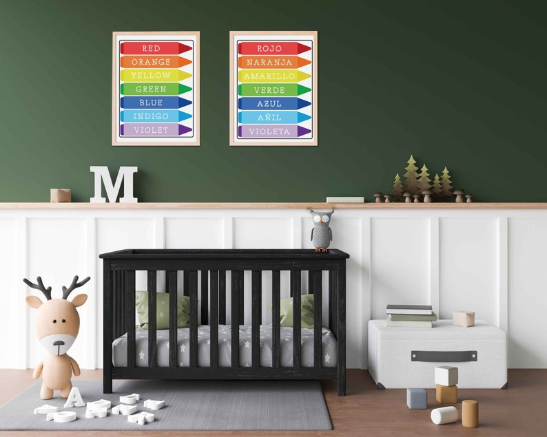 Colors Poster Colors of the Rainbow Spanish Poster Arte de Pared Classroom Decor Bilingual Educational Poster Dual Language Poster