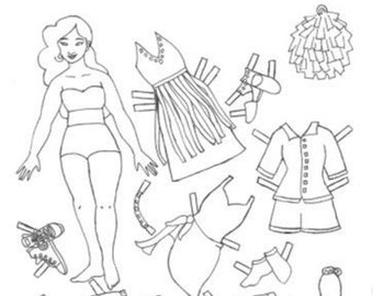 Doll Coloring Page Etsy