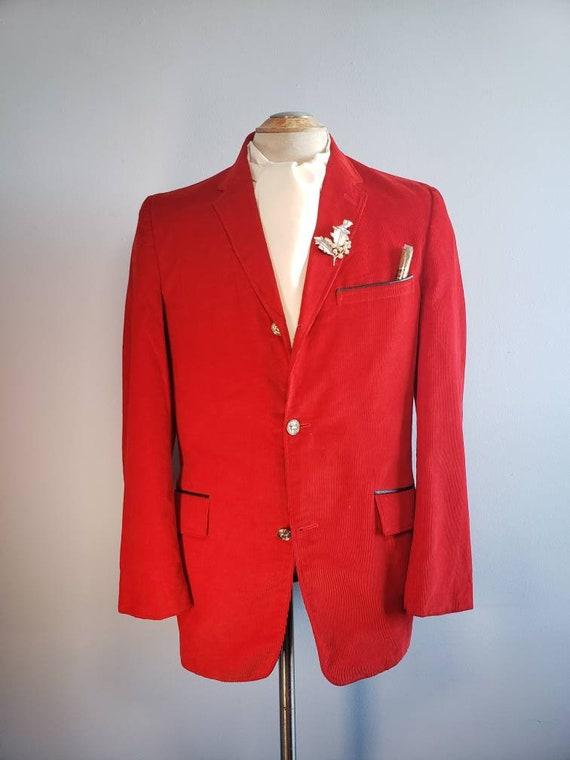 Vintage mcm Mens blazer/jacket red corduroy, holid