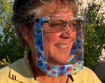 Enclosed ADULT face shield, 100% double-layered cotton, Comfortable, Adjustable elastic, Fits over eyewear, Washable