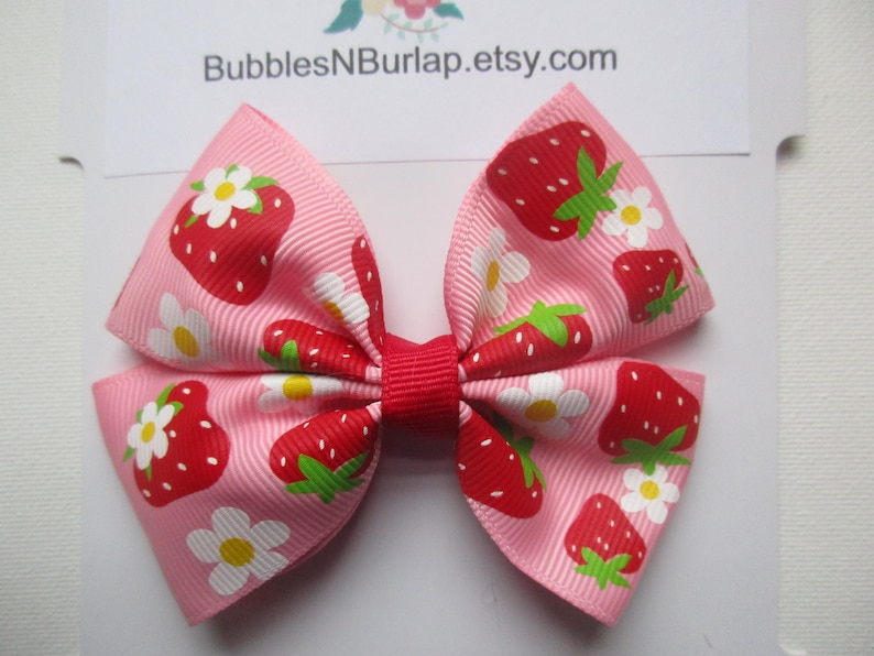 Strawberry Hair Bow Boutique Hair Bow Pink and Green Bow Strawberry Shortcake Hair Bow Fruit Bow Girls Pinwheel Ribbon Hair Bow Large Bow
