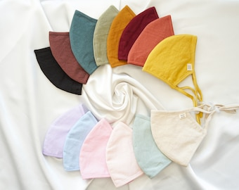 THREE LAYER LINEN Mask | Face Cover | Reusable | Nose Wire | Filter Pocket | Adjustable | Handmade