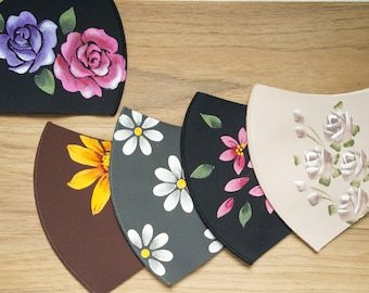 HAND PAINTED FLORAL Mask | Face Covering | Artist Made | Lightweight | Breathable | Reusable | Washable | Handmade