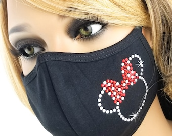 Bling Face Mask| USA | Rhinestone Mask | Crystal Mask | Minnie Silhouette | Washable | Reusable | Fast Shipping | Women | Sparkle