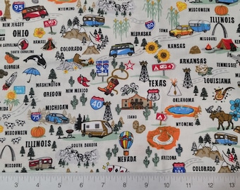 """STATES ~ COTTON Woven Fabric ~ Mask Fabric ~ Fat Quarter 18"""" L x 21"""" W ~ Sew ~ Crafts ~ Fast Shipping"""