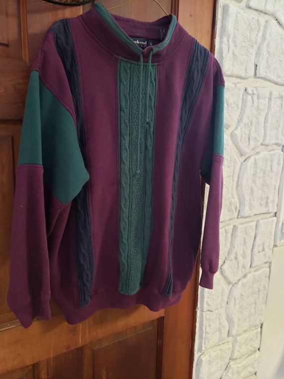 Vintage Purple/Teal Drawstring Knit Sweatshirt