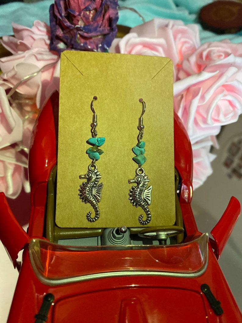 ocean earrings Seahorse earrings handmade earrings