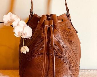 Back-to-School-Essentials-Drawstring Bag, BOHO Bucket Bag Crossbody, Leather Shoulder Bag, Handmade, Hand-tooled, Leather Purse, Two Straps