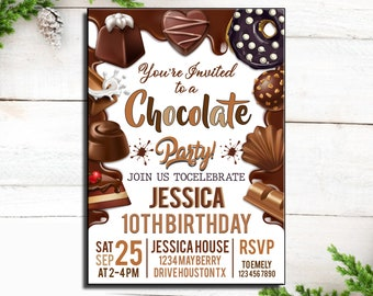 Delicious Chocolate Personalised Party Invitations